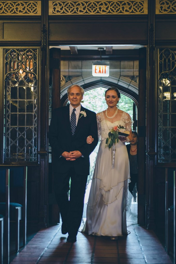 Ida Noyes Theater Wedding. Rose Tinted Lens Photography. Sweetchic Events. Bond Chapel. Bride and Father walking down aisle