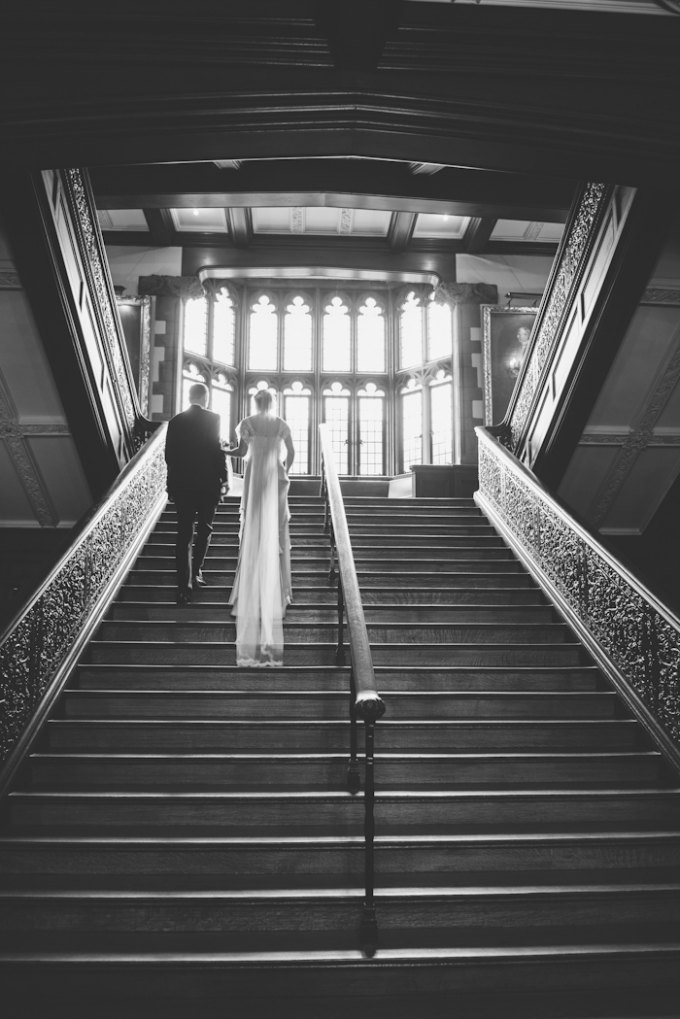 Ida Noyes Theater Wedding. Rose Tinted Lens Photography. Sweetchic Events. Bride and Groom on Stairs of Ida Noyes