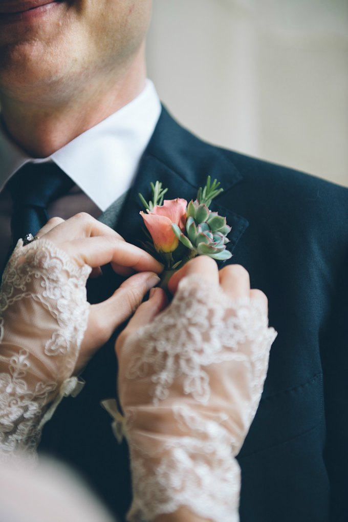Ida Noyes Theater Wedding. Rose Tinted Lens Photography. Sweetchic Events. Flor Del Monte. Mini Green Succulent with Peach Spray Rose Boutonniere