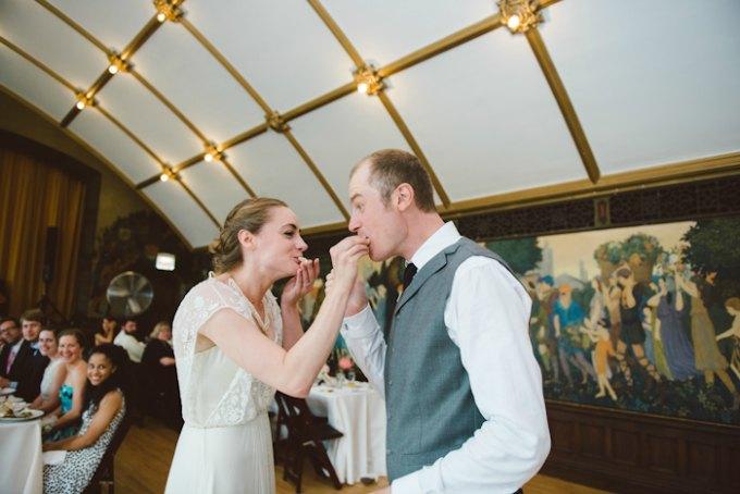 Ida Noyes Theater Wedding. Rose Tinted Lens Photography. Sweetchic Events. Swedish tradition of breaking the wedding cake. (2)