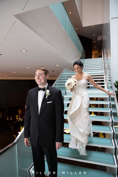 10. Germania Place Wedding. Miller & Miller Photography. Sweetchic Events. First Look on Sofitel Stairs