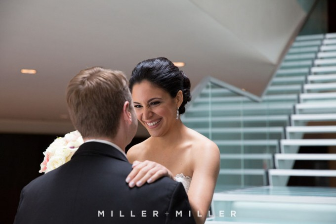 11. Germania Place Wedding. Miller & Miller Photography. Sweetchic Events. First Look on Sofitel Stairs.