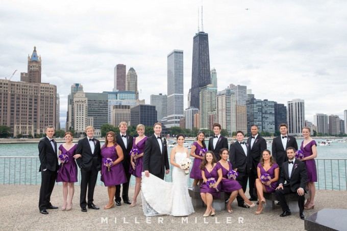 15. Germania Place Wedding. Miller & Miller Photography. Sweetchic Events. Bridal Party. Chicago Skyline.