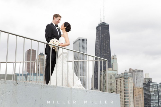 20. Germania Place Wedding. Miller & Miller Photography. Sweetchic Events. Bride and Groom. Chicago Skyline