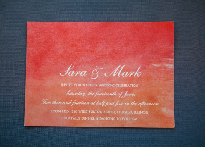 1. Room 1520 Wedding. Sweetchic Events. Studio Finch. Orange and Pink Watercolor Invitation. Minted.