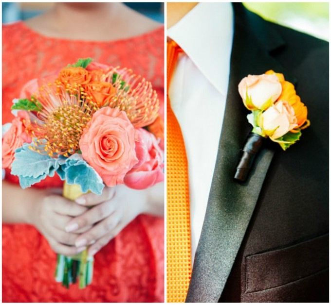 10. Room 1520 Wedding. Sweetchic Events. Studio Finch. Vale of Enna. Orange Ranunculus Boutonniere. Coral Peony. Orange Spray Roses. Orange Protea Bouquet