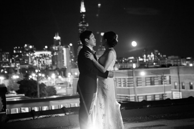 50. Room 1520 Wedding. Sweetchic Events. Studio Finch. Chicago Skyline. Night. City Lights.