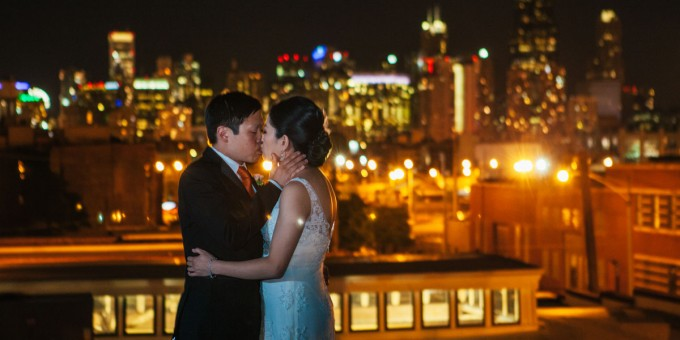 51. Room 1520 Wedding. Sweetchic Events. Studio Finch. Chicago Skyline. Rooftop. Night. City LIghts.
