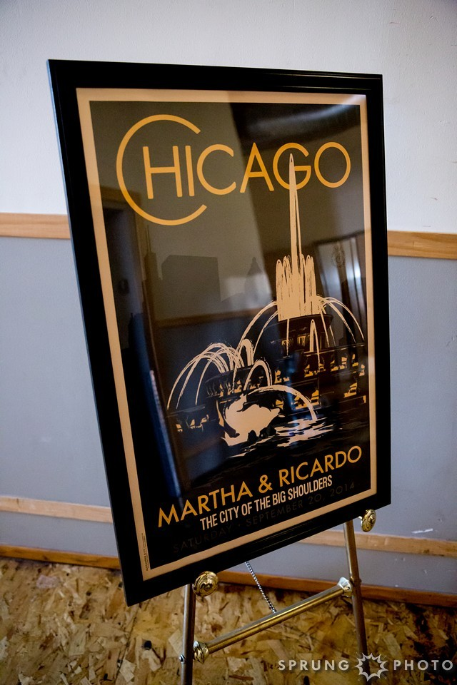17. Art Deco Wedding. Kitchen Chicago. Victoria Sprung Photography. Sweetchic Events. Custom Chicago Wedding Sign . Buckingham Fountain.