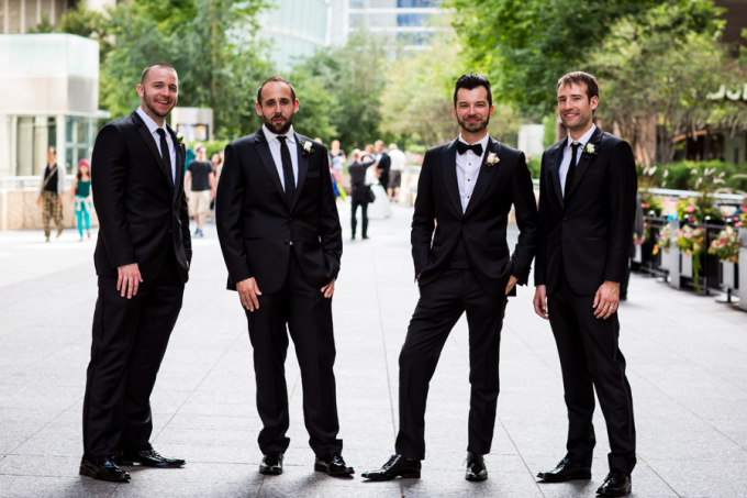 14. Union Station Wedding. Steve Koo Photography. Sweetchic Events. Groomsmen. Black Suits. Bow Tie.