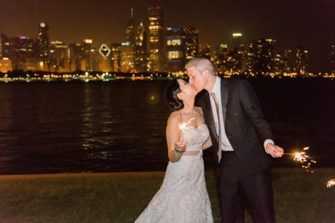 23. Adler Planetarium Wedding. Kristin La Voie Photography. Sweetchic Events. Chicago Skyline. Sparklers.