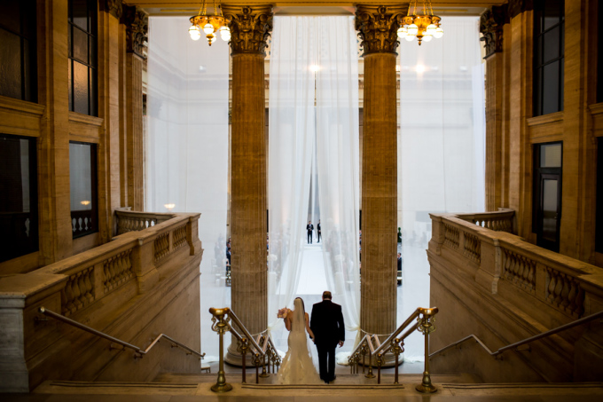 23. Union Station Wedding. Steve Koo Photography. Sweetchic Events. Grand Entrance. White Draping.
