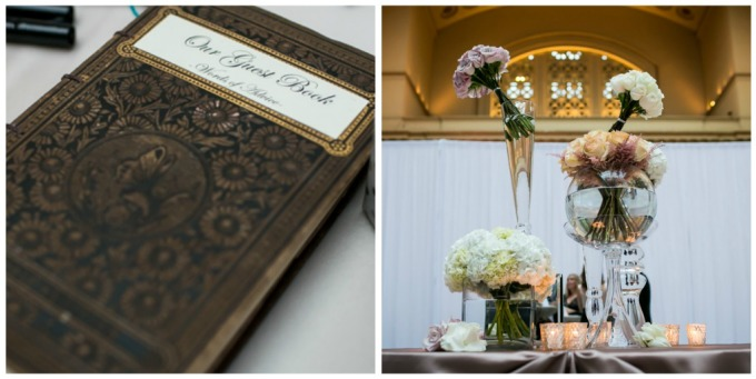 29. Union Station Wedding. Steve Koo Photography. Sweetchic Events. Flower Firm. Vases of vendela roses, hydrangeas, and pink Astilbe with Sahara roses.