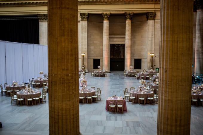 31. Union Station Wedding. Steve Koo Photography. Sweetchic Events. Flower Firm. Chicago Architecture. Blush Uplighting. Blush, Ivory, gold Wedding. Classic