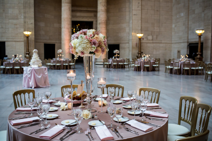 33. Union Station Wedding. Steve Koo Photography. Sweetchic Events. Flower Firm. Blush Gold Ivory Wedding. Tall Glass Centerpieces. Glamourous.