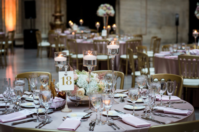 34. Union Station Wedding. Steve Koo Photography. Sweetchic Events. Flower Firm. Blush Ivory Gold Wedding. Candle Trio Centerpiece. Glamorous