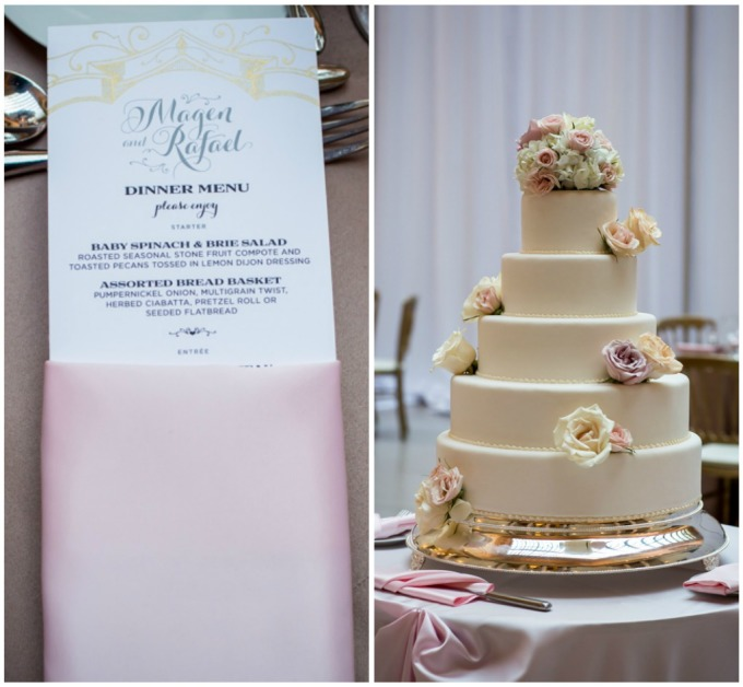 35. Union Station Wedding. Steve Koo Photography. Sweetchic Events. Flower Firm. Blush and Ivory Menus. Ivory Wedding Cake with Gold Platter.