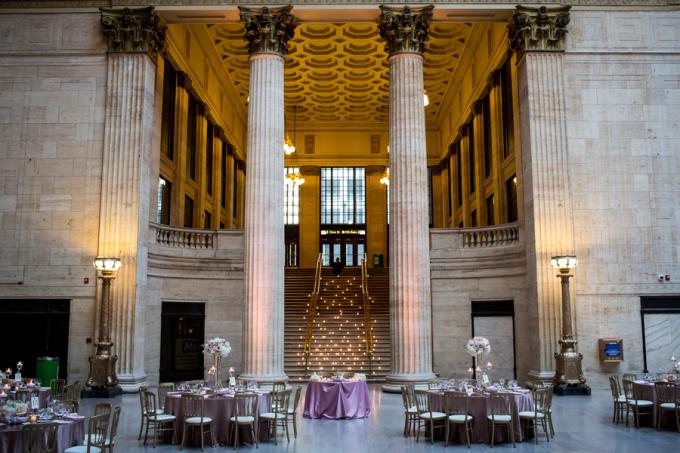 37. Union Station Wedding. Steve Koo Photography. Sweetchic Events. Flower Firm. Candlelit stairs. Dramatic. Architechture. Glamours. Blush Ivory Gold WEdding.