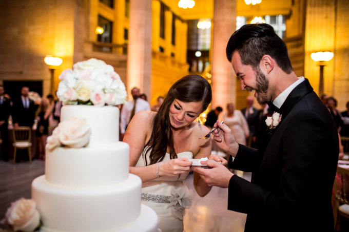 39. Union Station Wedding. Steve Koo Photography. Sweetchic Events. Flower Firm. Cake Cutting.