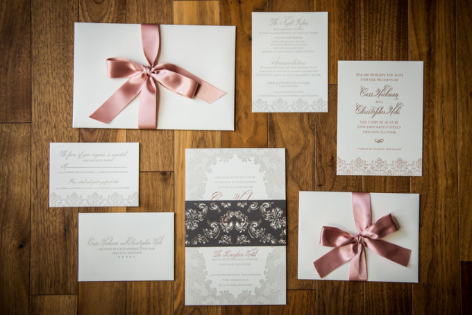 1. Langham Chicago Wedding. Steve Koo Photography. Sweetchic Events. Blush Grey Invitation Suite.