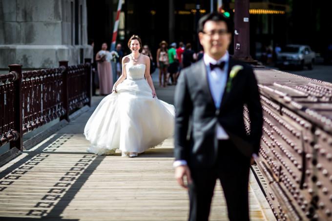 10. Langham Chicago Wedding. Steve Koo Photography. Sweetchic Events. First Look. Wabash Ave Bridge.