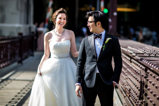 11. Langham Chicago Wedding. Steve Koo Photography. Sweetchic Events. First Look. Wabash Ave Bridge.