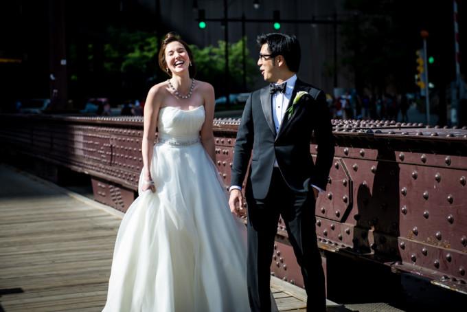 12. Langham Chicago Wedding. Steve Koo Photography. Sweetchic Events. First Look. Wabash Ave Bridge