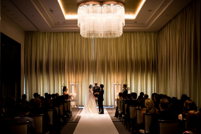 19. Langham Chicago Wedding. Steve Koo Photography. Sweetchic Events. Chicago Ballroom. Ceremony. Chandelier. Classic. Glamour