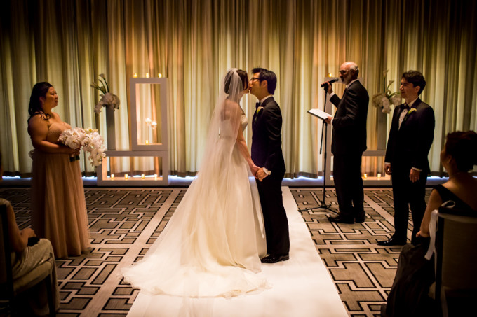 20. Langham Chicago Wedding. Steve Koo Photography. Sweetchic Events. Kiss. Ceremony. Classic. Glamour.