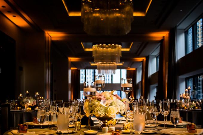 23. Langham Chicago Wedding. Steve Koo Photography. Sweetchic Events. Revel Decor. Low , lush centerpeice. Gold Fruit Bowl. Rose, hydrangea, calla lillies, orchids. blush, white, rose.