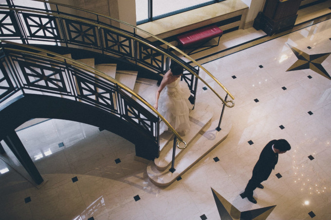 16. Rookery Wedding. This is Feeling Photography. Sweetchic Events. JW Marriott. First Look. Grand Staircase.