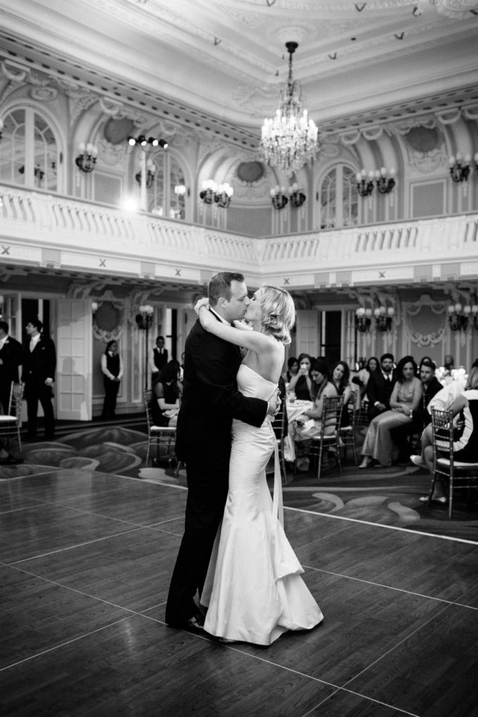 44-blackstone-chicago-wedding-pen-carlson-sweetchic-events-first-dance-bride-and-groom-hotel-ballroom-dance-floor-black-and-white