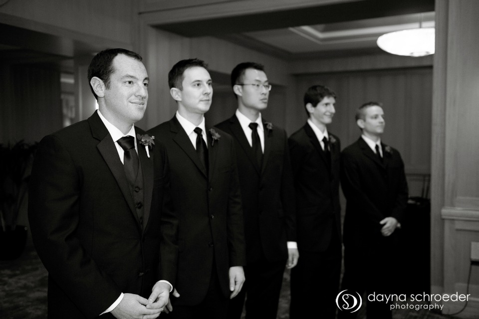 21 Westin River North chicago wedding sweetchic events dayna schroeder groomsmen at alter