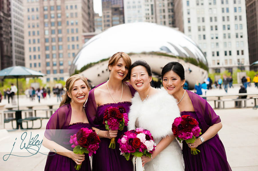 26 Anne. Rick The Rookery. J Wiley Photography. Sweetchic Events. Bride and Bridesmaids Millenium Park Cloudgate