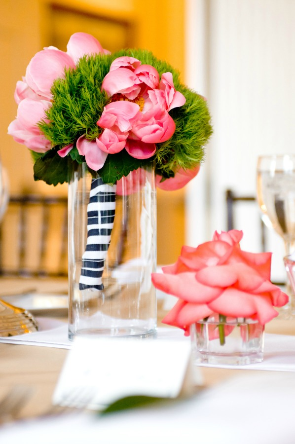 26 Chicago History Museum Wedding Dennis Lee Photo Sweetchic Events coral charm peonies green trick navy grosgrain