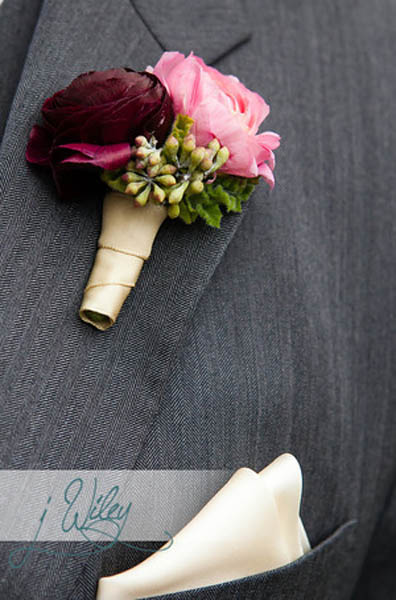 27. Anne. Rick The Rookery. J Wiley Photography. Sweetchic Events. Pink and Eggplant Ranunculus Boutonnieres. Vale of Enna