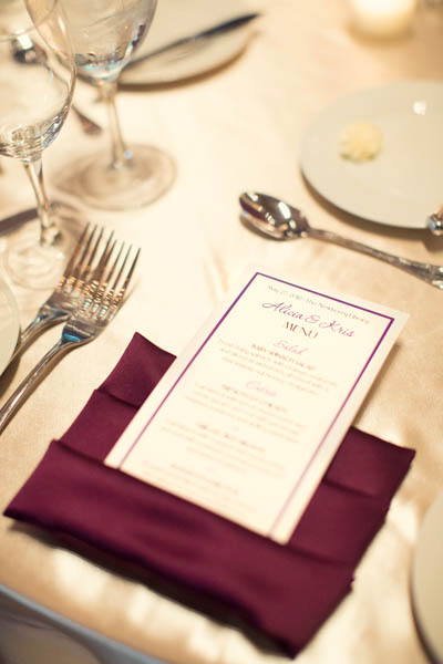 37. Alicia & Kris. Newberry Library Wedding. iLuvPhoto. Sweetchic Events. Menu