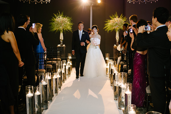 37. Waldorf Astoria. Pen Carlson Photography. Sweetchic Events. Ceremony. Brides Entrance. White & Blush Dendrobium Orchid Ceremony Decor. Floating Candle Aisle Decor