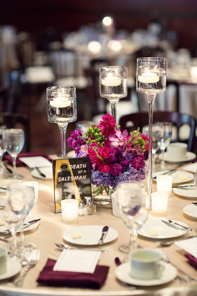 40. Alicia & Kris. Newberry Library Wedding. iLuvPhoto. Sweetchic Events. Fluer. Hydrangea, Lilac Centerpiece