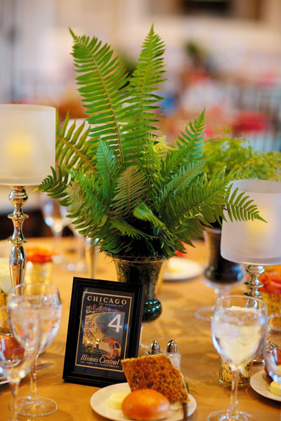 Chicago History Museum. Steve Koo Photography. Sweetchic Events. EP2.Fern Centerpiece. Postcard Table Numbers.