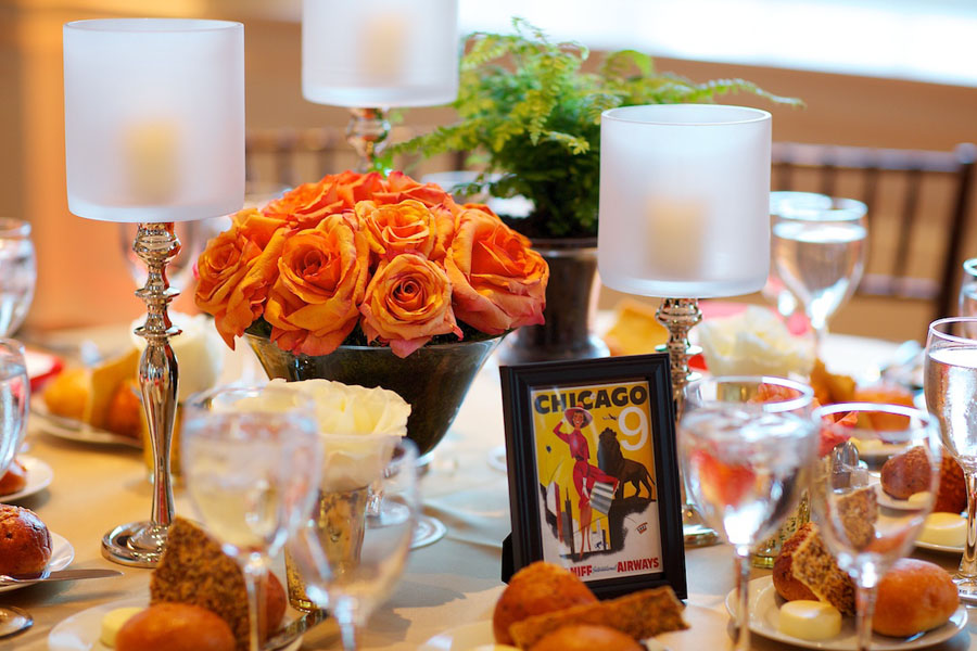 Chicago History Museum. Steve Koo Photography. Sweetchic Events. Orange Spray Rose Centerpiece. Postcard Table Numbers.