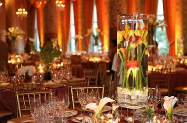 Drake Hotel Gold Coast Ballroom wedding reception  submerged coral calla lillies centerpiece