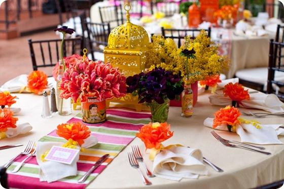Fiesta rehearsal dinner tablescape lanterns tulips orange pink 2