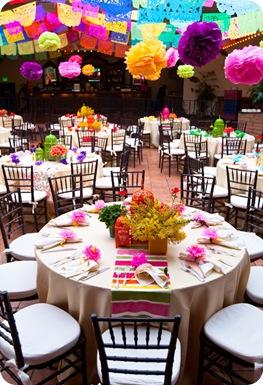 Fiesta rehearsal dinner tablescape lanterns vibrant 2