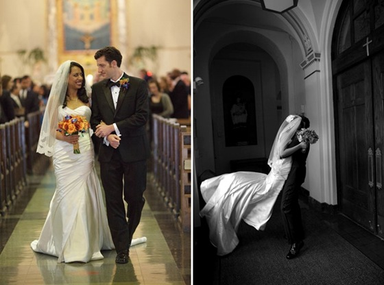 Holy Innocents Church Chicago wedding ceremony recessional-tile