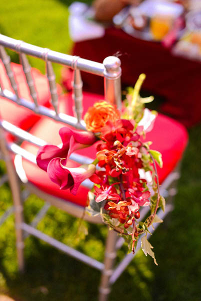 Indian Wedding. Botanic Gardens Wedding. Fragola Productions. Sweetchic Events. Exquisite Designs. Hot Pink Calla Lilly and Orchid Ceremony Chair Decor.