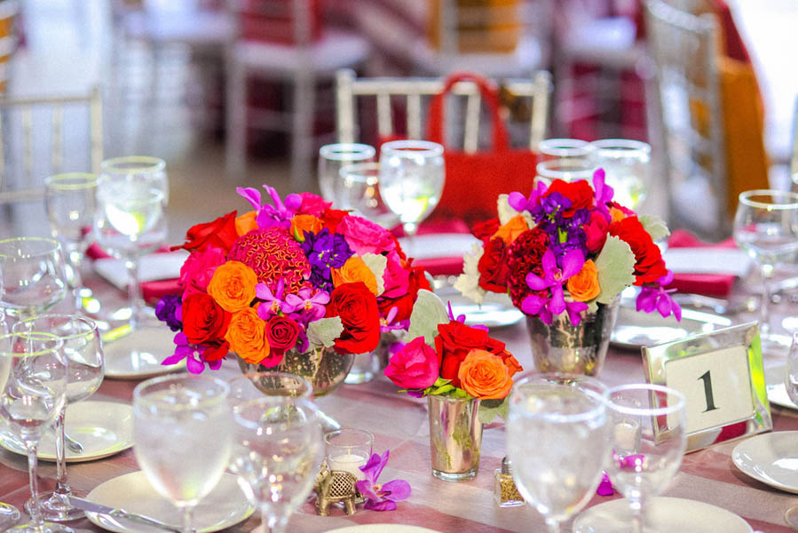 Indian Wedding. Botanic Gardens Wedding. Fragola Productions. Sweetchic Events. Exquisite Designs. Mercury Glass Clusters. Roses, Celosia, Dahlias, Orchid