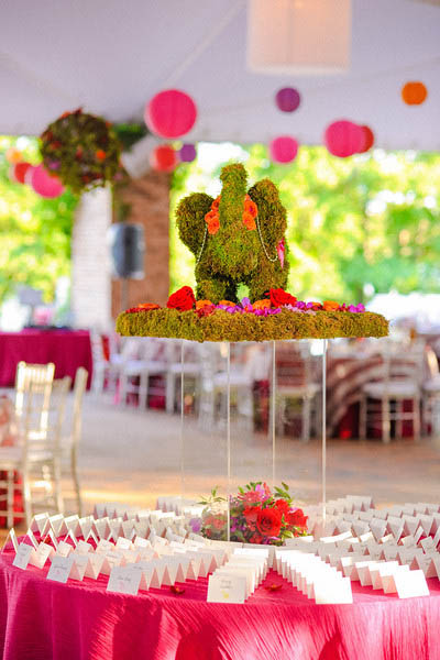 Indian Wedding. Botanic Gardens Wedding. Fragola Productions. Sweetchic Events. Moss Elephant Escort Card Table.