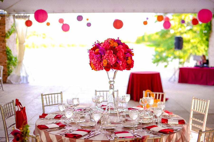 Indian Wedding. Botanic Gardens. Fragola Productions. Sweetchic Events. Exquisite Designs. Hot Pink Hydragea, Red Rose, Purple Orchids Centerpiece.