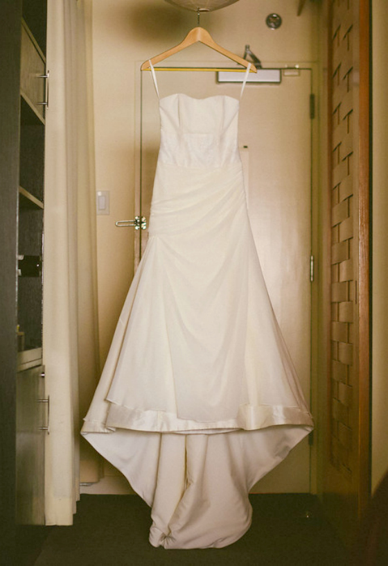 Karen custom made wedding gown Dame Couture Evanston sweetheart strapless chiffon trumpet Photos by  Fragola Productions